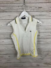 FRED PERRY sin mangas Camisa Polo-UK10-Blanco-Excelente Estado-Para Mujer
