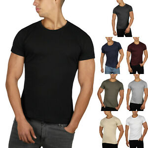 Mens Slim Fit T Shirt Muscle Top Gym Crew Neck Short Sleeve Plain 100% Cotton