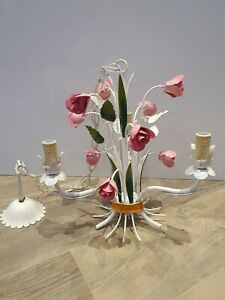 French Vintage Tole 3 light Chandelier leaf metal flowers Roses Chic / Rococo