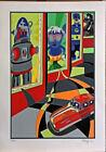 UGO NESPOLO serigrafia + collages Robot 70x50 firmata numerata con cartella