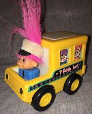 """Troll School Bus - Russ Trolls-On-The-Go Toy - Vintage 1998 5"""" L x 3"""" W"""