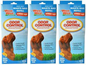 (3 Pack) Wee-Wee Odor Control Heavy Duty Waste Bag Refills, 315 Bags Per Pack
