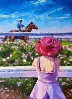 ORIGINAL Lady At The Races Painting - Equestrian British Art Original Presale