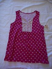 Women's Liz Claiborne Split Neck Tank Top Pink Dot Size Medium NEW