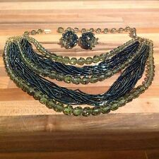 Vintage Green Crystal & Glass bead stranded necklace  & clip earring set no mark