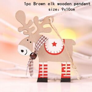 2021 Christmas Ornaments Wooden Hanging  Bell Star Pendants Xmas Tree Home Decor