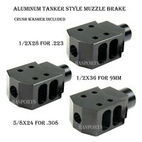 NEW! ALUMINUM BLACK Compact Tanker Style Muzzle Brake for .223 .308 9mm