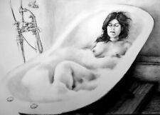 Leyna on bathtub, draw on charcoal, A3 paper