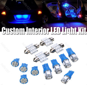 13Pc Blue LED Lights Interior Package Kit for Dome License Plate Lamp Bulbs