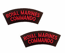2 Royal Marines Commando Red and Black Shoulders Flashes / Titles