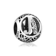 "Silver Letter ""A"" CZ Charm Bead, fits European Style Bracelets"