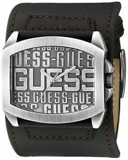 NEW-GUESS BROWN LEATHER CUFF AGED SILVER S/STEEL MEN LOGO DIAL WATCH-U0360G2