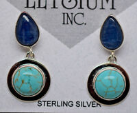 Double Drop Kyanite Teardrop and Round Turquoise Earrings .925 Sterling Silver
