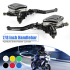 Pair Universal Motorcycle Hydraulic Brake Clutch Master Cylinder Reservoir Lever