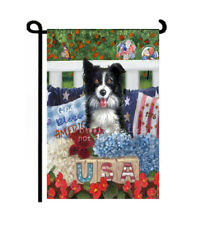 July 4th dog Garden Flag Summer Border Collie Independence Day red white blue