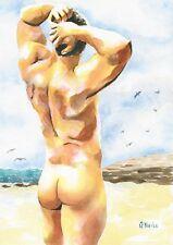 "PRINT Original Art Work Watercolor Painting Gay Male Nude ""Deserted beach"""