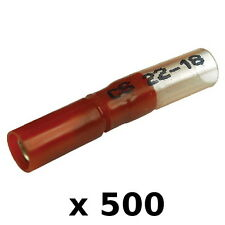500 Pack Red 22-18 AWG Heat Shrink 0.156 Inch Female Bullet Terminals for Boats