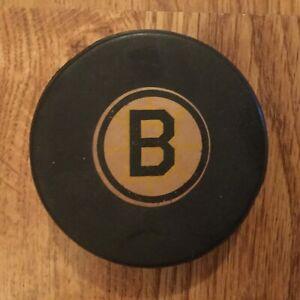 NHL Boston Bruins Converse vintage game puck, 1970's, screened reverse, rare