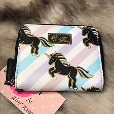 NWT Betsey Johnson Striped Zip Around Wallet - Unicorns!