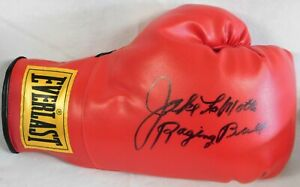 Jake LaMotta Signed Red Boxing Glove Inscribed Raging Bull JSA Authenticated