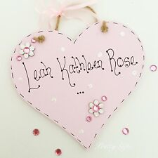 Handmade Personalised Heart Name Plaque Keepsake Gift Baby Girl Boy Christening