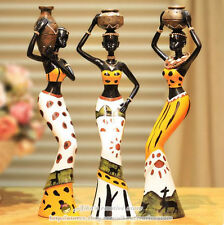 A Set African National Style Statue,Beautiful African Woman Resin Figurine 7.87""