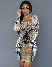 New geometric print mesh mini bodycon dress club party summer wear Size M UK 10