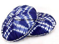 2 PC Round Indigo Tie Dye Pom Lace Floor Pillow Cotton Shibori Ottoman Pouf Boho