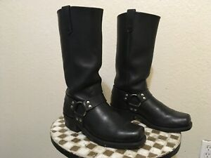 BROOKS BLACK LEATHER HARNESS SQUARE TOE MOTORCYCLE BIKER BOSS BOOTS 10 D