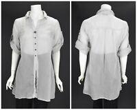 Womens Elisa Cavaletti Tencel Sheer Tunic Blouse Shirt Grey Button Size XS