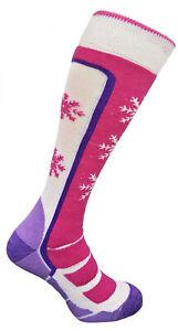 Women Girls Ski Socks Wool Long Warm Winter Snowboard Thermal Pink White 2 sizes