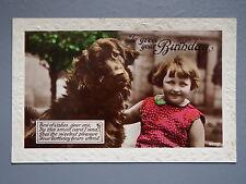 R&L Postcard: Brown Retreiver Dog & Girl Portrait, Birthday Verse