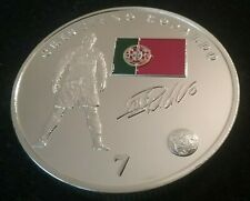 RONALDO R MADRID & PORTUGAL FOOTBALL SUPERSTAR SILVER COIN , AUTOGRAPHED COIN