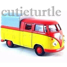 """Welly 4.75"""" VW Volkswagen T1 Double Cabin Pick Up Truck 49720SPD-02 Red Yellow"""