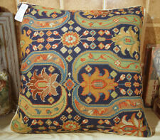 "18"" Persian Style Hand Woven Jacobean Floral Needlepoint Throw Pillow Cushion"