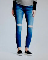 Isabel Maternity Jeans 12 Skinny Distressed Cut Crossover Panel Stretch New