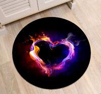 Abstract Colorful Heart Round Area Rug Room Yoga Carpet Floor Non-slip Beach Mat