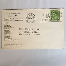 F. E. Palmer Florist Brookline Massachusetts Postmark Boston 1939 Postcard