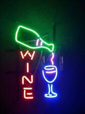 """Beer Wine Bottle Bar Open Neon Lamp Sign 17""""x10"""" Bar Decor Light Glass Artwork"""