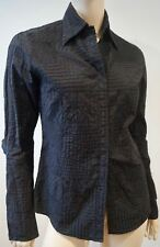 E PLAY Black 100% Cotton Collared Stitch Detail Long Sleeve Blouse Shirt Top M