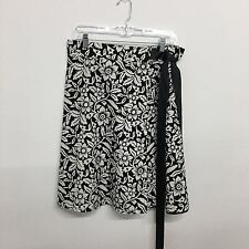 Sass A Little skirt wrap satin ribbon lined black white floral print one size