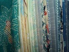 Blue Silk Kimono Remnants Scrap Mix of 23 Craft Supply Japanese Vintage Fabric