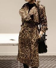 European leopard colour womens praka trench coat slim belted Jacket outwear COAT