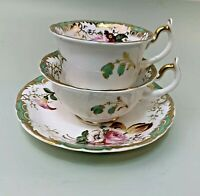 Rockingham trio, teacup/coffee cup & saucer  pattern1475, ca1835