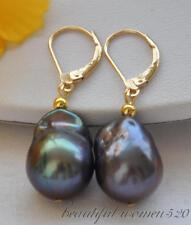 z5052 25mm drip black keshi reborn pearl dangle earring