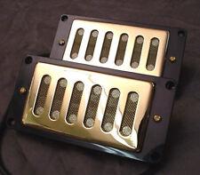 PAIR OF GOLD HUMBUCKING GUITAR PICKUPS mesh design - PICKUP SET