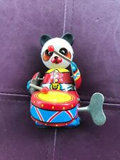 Vintage Collectible Panda Drummer Clockwork Wind-Up Tin Toy w/ Key
