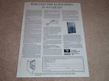 Klipsch Klipschorn Ad, 1967, Géant Article ! Détails, Spécifications