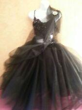 SEXY BLACK TULLE TEA LENGTH TUTU SAREE SARI SKIRT DRESS BRIDAL