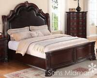 NEW! Sheridan Collection King Size Bed Traditional Cherry Wood Bedroom Furniture